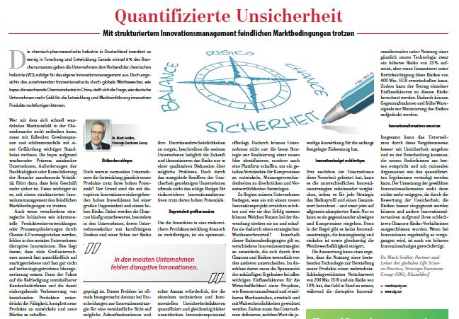 Quantifizierte Unsicherheit – Chemieunternehmen können mit strukturiertem Innovationsmanagement feindlichen Marktbedingungen trotzen